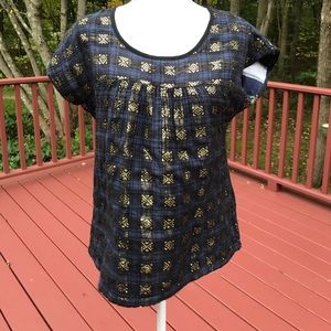 Ace & Jig S/P navy/ gold S/S cotton top